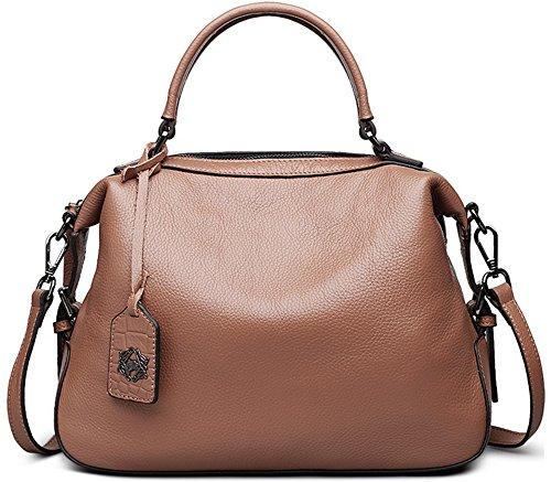 Xinmaoyuan Borse donna in pelle spalla singolo sacchetto femmina strato Baotou Vacchetta Litchi chicco grande capacità Sacchetto a cuscino colore solido borsetta,blu Brown
