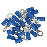 100x Bleu Anneau isolé Crimp connecteur électrique Bornes de câblage Interne Trou de 6 mm Regard