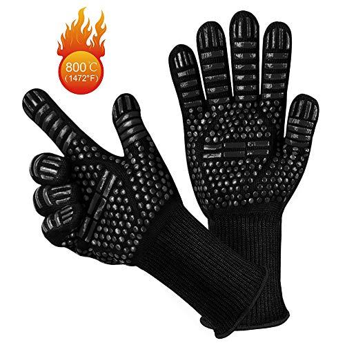 Grillhandschuhe, yotame Ofenhandschuhe Hitzefeste bis zu 1472°F 800°C Kochenhandschuhe Backhandschuhe Rutschfeste mit Silikon Kaminhandschuhe für BBQ, Grillen,Kochen,Backen,Schweißen- 1 Paar