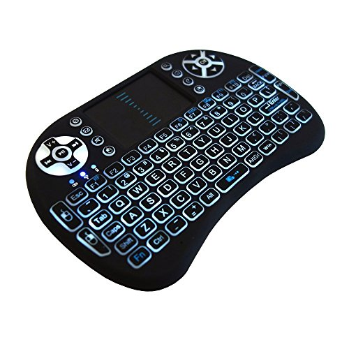 Wireless Mini-Tastatur mit Hintergrundbeleuchtung, Touchpad und Multimediatasten für Android Kodi, TV-Box XBMC, Playstation, Xbox, PC, Laptop, Smartphone und mehr (Ps In Eins Laptop Zwei)