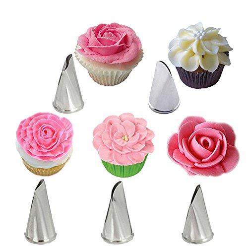 Inovey 5 Stück Set Rosen Blütenblatt Icing Piping Düsen Metall Creme Tipps Kuchen Dekorieren Werkzeuge Cupcake Gebäck Werkzeug (Kuchen Dekorieren-tipps-set)
