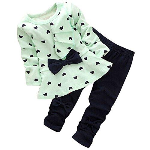 (Kinderbekleidung,Honestyi Neue Baby Sets Heart Shaped Print Bow Nette Kinder Set T Shirt + Hosen (80,Grün))