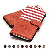 QIOTTI Hülle Kompatibel mit Galaxy S6 Edge Plus Ledertasche aus Hochwertigem Leder mit Kartenfach Handyhülle Tasche in Rot