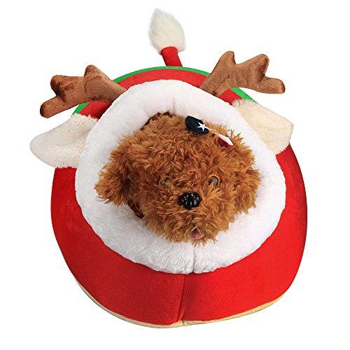 (Y56 Hundebetten Nettes Weihnachtsrot-Ren-Haustier-Hundekatzen-Bett-Kissen-Welpen-Haus weich)