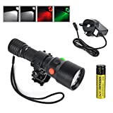 Boruit Explosion Rechargeable 12LED Flashlight Torch include Red Light&Green Light,for Hunting,Fishing,Camping ,Gun Light. with Wall Charger+1*18650 Rechargeable Battery+Gun Light Mount