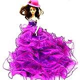 WayIn® Banquete de boda de moda hecha a mano viste el vestido para la muñeca de Barbie púrpura