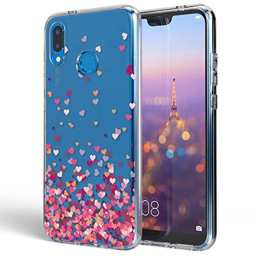 Huawei P20 Lite Hülle Handyhülle von NALIA, Slim Silikon Motiv Case Cover Crystal Schutzhülle Dünn Durchsichtig, Etui Handy-Tasche Backcover Transparent Bumper für P20Lite, Designs:Pinkheart (Blatt-design-folie)