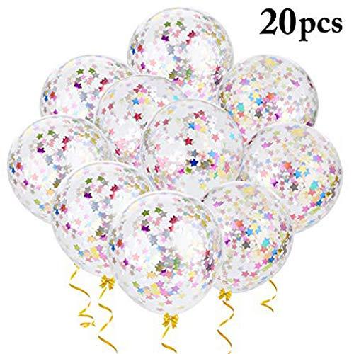 (BTTBEST Konfetti Ballons, 20PCS Hochzeit Konfetti Ballons Klar Helium Ballons Glitter Konfetti Ballons für Hochzeit Geburtstag Baby Shower Party Dekoration)