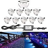 Lot de 10 Spots LED Extérieur Encastrable Mini Lumière pour Terrasse Bois Escalier Piscine 0.2-0.5W DC12V Lampe étanche Kit Spot de Jardin, RGB[Classe énergétique A] IP67