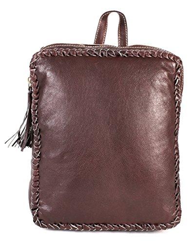 rl670 Londres Marron en Cuir Véritable Sac à dos – Tissage avec détails Fashion Bag