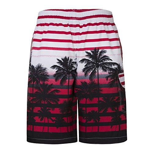 Asvert, pantaloncini da uomo ad asciugatura rapida, motivo spiaggia con palme Red