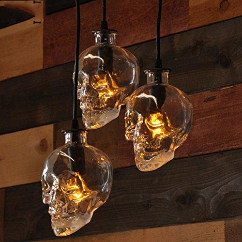 Moderne minimalistische LED-Restaurant, Kronleuchter, drei kleine Glas Schädel Form Lampenschirm, Esstisch, Esszimmer, Bar, neue chinesische Mahlzeit, hängende Lampen und Laternen , 1