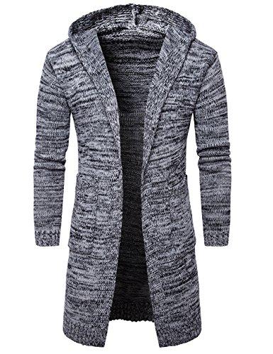 Pinkpum Herren Strickpullover Cardigan Long Vest Hoodie Jacke Grau L