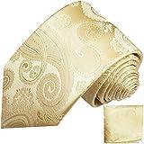 Paul Malone Krawatten Set 2tlg 100% Seide champagner paisley fleckabweisende Hochzeitskrawatte mit Einstecktuch