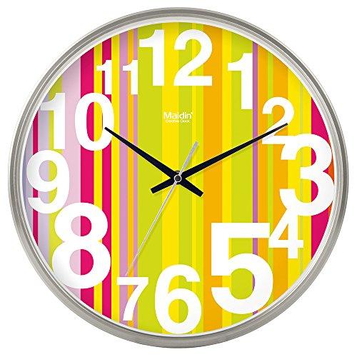 DIDADI Wall Clock Kreisförmige Uhrenbatterie mute Wanduhr hinter dem Motor Schlafzimmer beigefügte Tabelle Herr Ding clock Kalender Wohnzimmer, 8 Zoll Quarzuhr, die normale Version silber