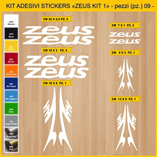 Kit Pegatinas Stickers Bicicleta ZEUS -KIT 1-09 piezas- Bike Cycle Cod. 0907 (010 BIANCO)