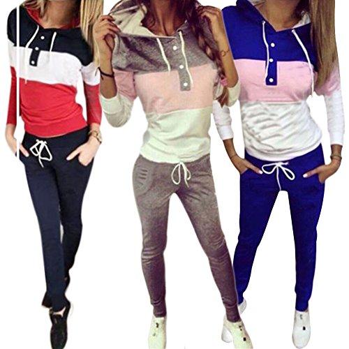 Abbigliamento sportivo invernale Juleya - Tute da donna Felpa con cappuccio + pantaloni Tuta sportiva 2 pezzi / set Tuta da jogging Grigio