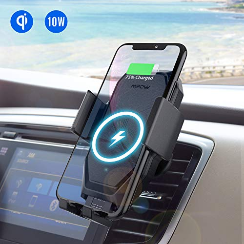 Mpow Supporto Smartphone per Auto per Ricarica Wireless, Porta Cellulare da Auto a Ricarica Rapida Wireless Qi per iPhone XS MAX/XS/XR/X/8/8plus,Galaxy S10/S9/S9+/S8/S8+/S7/S7Edge, Huawei E