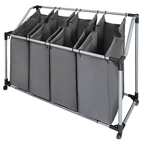 BB Sport Wäschesortierer mit Vier abnehmbare Fächern Wäschesammler Wäschekorb, Farbe:Steingrau