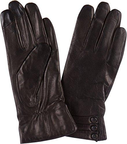 Sakkas 16172 - Syle Frauen-Screen Echtes Leder drei Knöpfen Ausgestattet Handschuhe - Schwarz - M