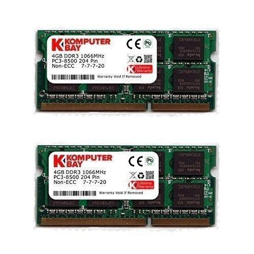 Komputerbay 8GB (2X4GB) DDR3 SODIMM (204 pin) 1066Mhz PC3-8500 (7-7-7-20) Laptop Notebook Speicher für Apple Macbook Pro