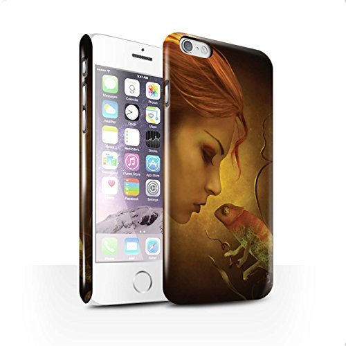 Officiel Elena Dudina Coque / Clipser Brillant Etui pour Apple iPhone 6 / Écailles Vertes Design / Dragon Reptile Collection Cameleon