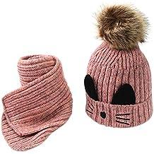 ODJOY-FAN-bambino Gattino Più velluto Cappello lavorato a maglia + sciarpa  Abito due 7962f591d7a3