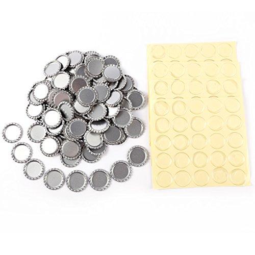 50-100PCS Wholesale/Bargin Päckchen flach chrom Flasche Kappen und Epoxy Kuppeln/Dots 100x Caps with Epoxy Domes(Silver) (Flache Flasche Kappen)