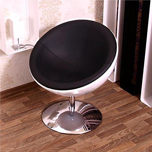DESIGNER SCHALENSESSEL retro Möbel Lounge Cocktailsessel bequem gepolstert C13 weiß-schwarz