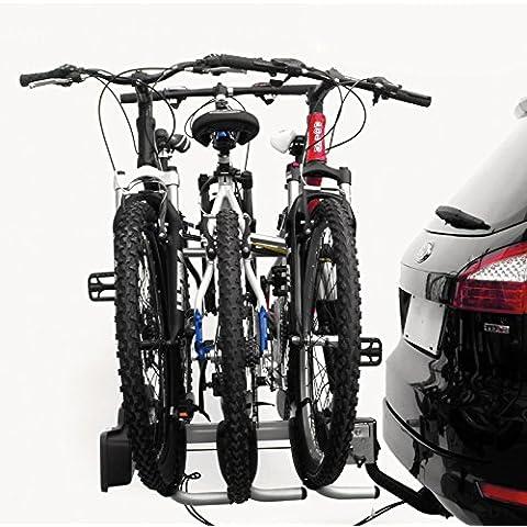 Portabicicletas para 3 Bicicletas a Bola de Remolque Portamatricula y Luces 3751