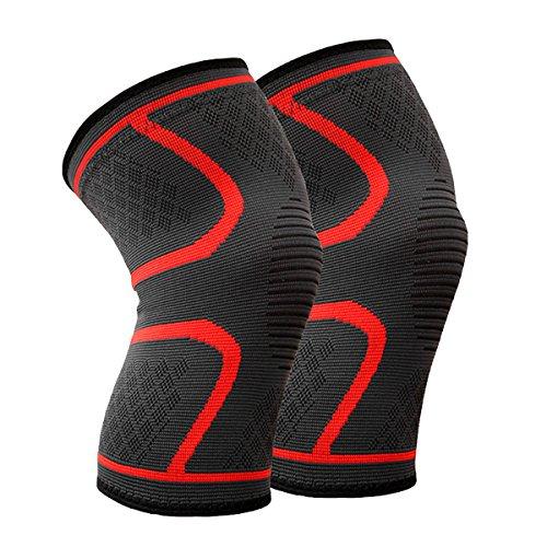 Beskey Kniebandage (Paar) Anti-Slip Kniestütze Super Elastisch Atmungsaktiv Knee Sleeves Hilfe Joint Pain Relief für Arthritis Leidende und Erholung von Verletzungen Fit für Den Sport (Rot, XL)