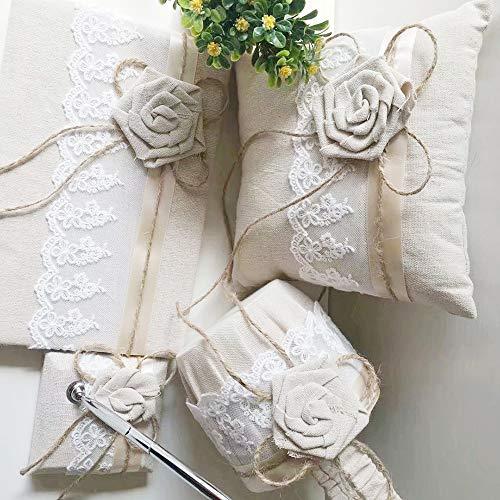 ko Accesorries Sackleinen Hochzeit Gästebuch + Stifthalter Silber Stift + Blumenmädchen Korb + Ringkissen Set + Strumpf Pack ()