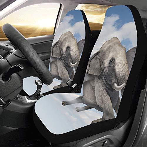 Fundas de asiento divertidas Un lindo bebé elefante flotante Universal Fit Auto Fundas de asiento de coche Protector para auto camión Suv Vehículo Mujer Señora (2 delanteras) Fundas de asiento de co