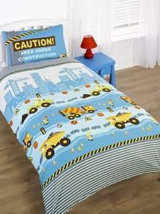 parure de lit pour enfant avec housse de couette et taie d 39 oreiller th me engins de chantier et. Black Bedroom Furniture Sets. Home Design Ideas