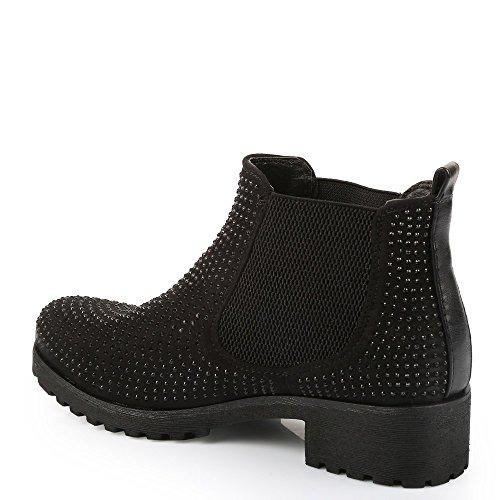 Ideal-Scarponcini, motivo Shoes Chelsea, bi-materiale, impreziositi Redoni strass Nero (nero)