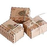AONER 50 STK. Kraftpapier Geschenkbox inkl. Juteschnur + Anhänger Pralinenschachtel für Hochzeit Taufe Partys Geschenkschachtel Gastgeschenk süßigkeiten Bonboniere