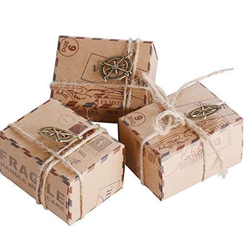 Aoner 50pz scatoline cubo scatole portaconfetti incluso corda di canapa ciondoli vintage bussole bomboniere segnaposti regalo per inviti (50*bussole)
