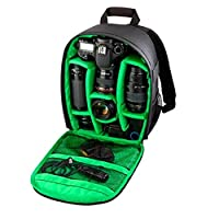 Goin Camera Backpack DSLR Hiking Camera Bag Waterproof for Canon, Nikon, Sony, Olympus, Samsung, Panasonic, Pentax Compact Camera Backpack Bag for Photographer(Black&Green)