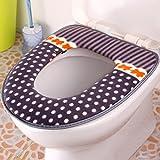 Spritech (TM)-Peluche de suave calentador de baño lavable almohadillas de tapa de inodoro, Gray Dot, 17