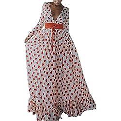Vectry Vestido Escote Espalda Vestidos De Lunares Vestidos para Bodas Vestidos Largos Elegantes Moda Mujer 2019 Rebajas Vestidos Vestidos De Gasa Largos Vestido Blanco