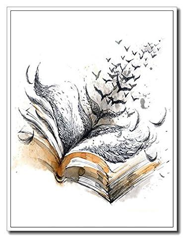 Haehne Modern Livre magique Toiles en coton Impression Oeuvres Peintures à l'huile Photo Imprimé sur toile Art mural pour les décorations maison à la chamber, 30 *45cm(12 *18Inch), Image seulement