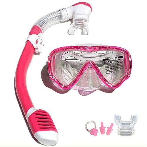 VILISUN Taucherbrille mit Schnorchel Anti-Leck Anti-Fog Schnorchelset Tauchset aus Gehärtetem Glas, ideal für Tauchen, Schnorcheln und Schwimmen, Rosa Set (Kinder)