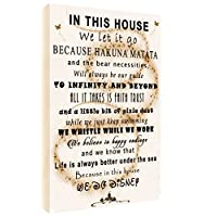 We Do Disney In This House Quote on CANVAS WALL ART Picture Print - SEPIA (A4 (29.5cm x 21cm))