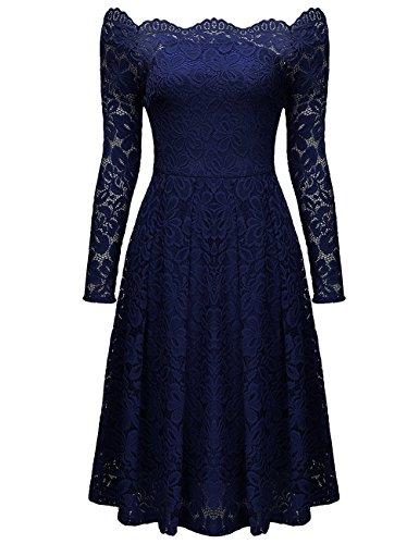 ISASSY Damen Kleid Abendkleid Spitzen Elegant Vintage Cocktailkleid Partykleid Dunkelblau