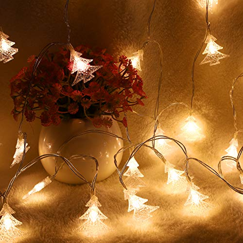 MoKo Xmas Tree String Lights, 10m/33ft 100 LED Waterproof Lights, 2 Lighting Modes, Battery Powered Fairy Light for Halloween Christmas Weddings Birthday Family School Parties Décor - Warm White