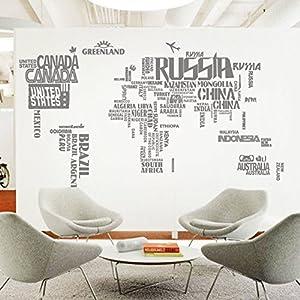 Inglés creativo de grandes letras mundo mapa pegatinas,Pegatinas de pared de fondo de sala de estar comedor sofá tv-A 71*43inch