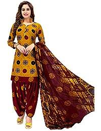 Jevi Prints Women's Faux Crepe Gold & Maroon Battik Print Wrinkle Free Dress Material (R-9178)