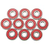 Roulements de roue - TOOGOO(R)10pcs ABEC-9 Roulements de Skateboard Super rapide, vitesse de rotation du acier roulements 608-2RS skate