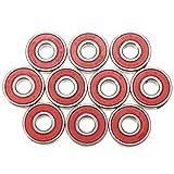Roulements de roue - SODIAL(R)10pcs ABEC-9 Roulements de Skateboard Super rapide, vitesse de rotation du acier roulements 608-2RS skate