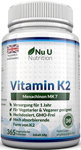 Vitamin K2 MK7 200 µg | 365 Vegetarische und Vegane Tabletten | Jahresversorgung von Vitamin K2 Menaquinon MK7 hochdosiert | All Trans von Nu U Nutrition